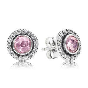 Pandora Statement Pink Sparkling Stud Earrings